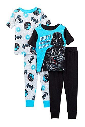 Star Wars Boys Vader Buttons 4-Piece Cotton Pajama Set (8, Black/Grey)