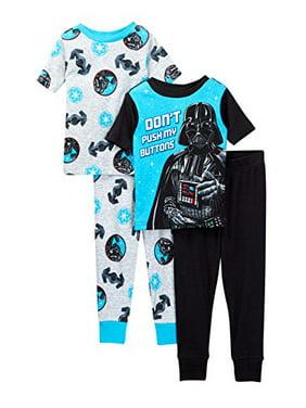 5c1b641ca Product Image Star Wars Boys Vader Buttons 4-Piece Cotton Pajama Set (8,  Black/