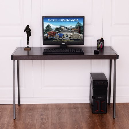 Board Precision Workstation - Goplus Wood Top Computer Desk PC Laptop Table Workstation Metal Frame Home Office
