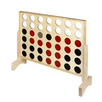 Hathaway Quattro 4 in a Row Board Game with Solid Pinewood Frame and 42 Durable Game Discs - 31.5-in L