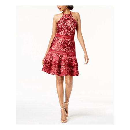 XSCAPE Womens Red Lace Sleeveless Halter Above The Knee A-Line Dress  Size: 10 Flattering A-line Dress