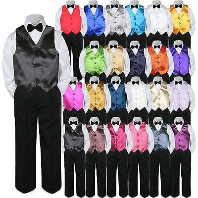 Black And Gold Tuxedo (23 Color Vest Black Bow Tie Pants Boy Baby Toddler Formal Tuxedo Suit 4pc sz)