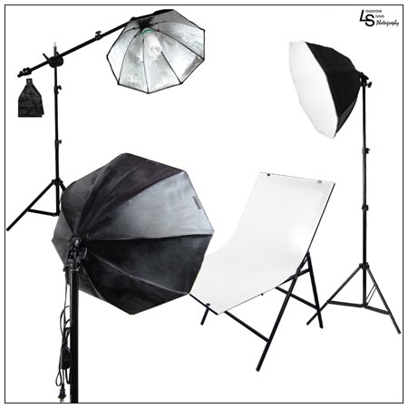 3x Octagon Softbox Product Photo Lighting Kit with Plexiglass Shooting Table and Boom Arm Stand by Loadstone Studio WMLS0133
