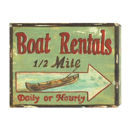 Global Gallery Boat Rentals Vintage Advertisement On Canvas