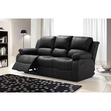 Algeciras Black Bonded Leather Living Room Reclining Sofa with Drop-down Tea Table ()