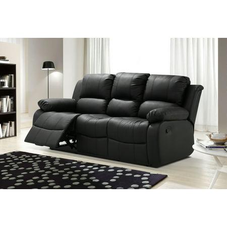 Algeciras Black Bonded Leather Living Room Reclining Sofa