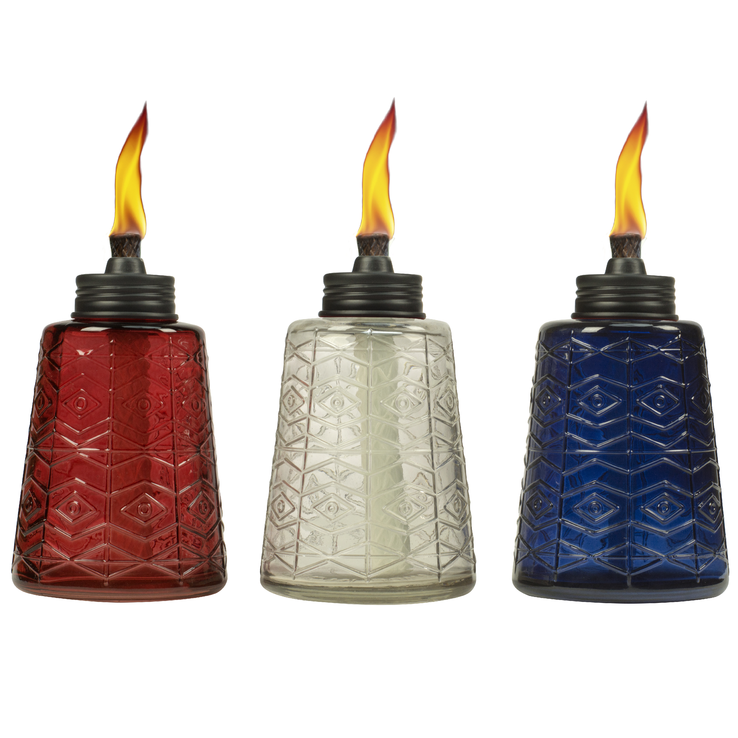 TIKI® Brand 6-inch Molded Glass Table Torch Red, White and Blue Assorted Colors 3-pack