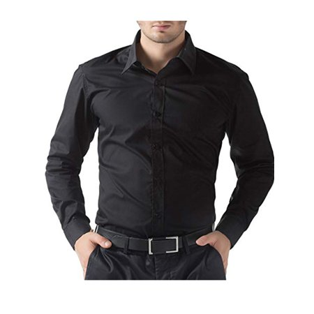 Mens Dress Shirt Button Down Stylish Shirts Wrinkle-Resistant Long-Sleeve Solid Dress Shirt Black/White/Dark Blue