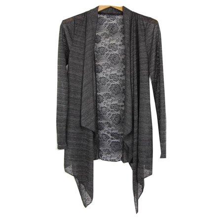 Luna Charcoal (Luna West Womens Charcoal Lace Back Angled Hem Long Sleeved Cardigan)