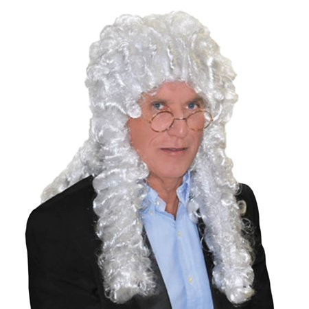 Long White Judge Wig