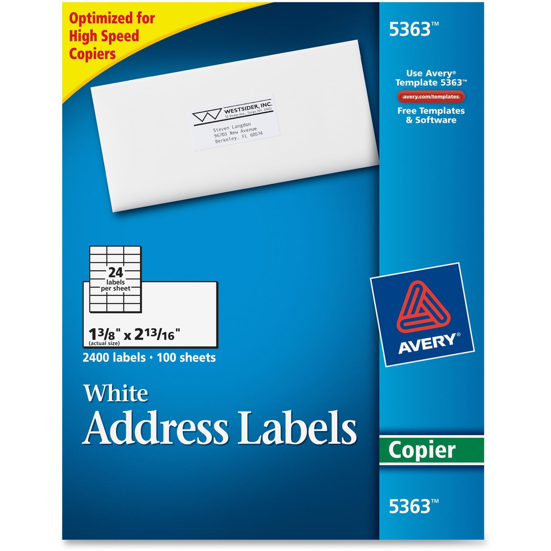 Avery Copier Address Labels, 1 3/8 x 2 13/16, White, 2400/Box