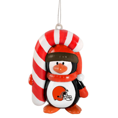 Cleveland Browns Penguin with Candy Cane Ornament