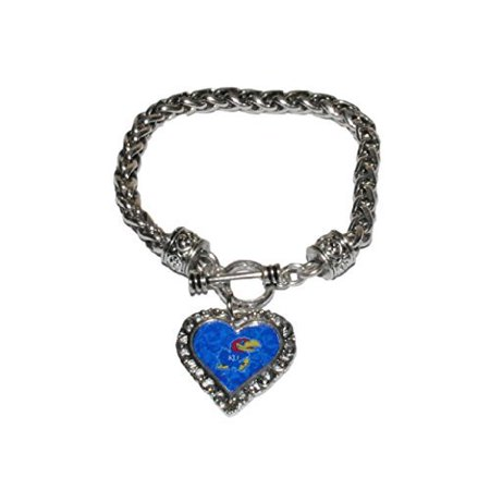- Kansas Jayhawks College Bracelet - Braided Toggle with Lace Trim Heart