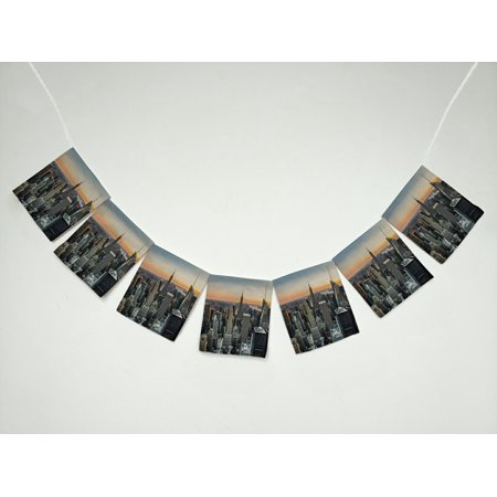 GCKG City New York Skyline at Sunset Banner Bunting Garland Flag Sign for Home Family Party Decoration (New York City Themed Party)