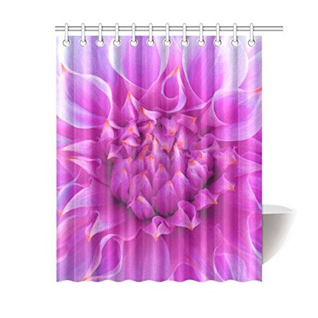 GCKG Big Blooming Flower Shower Curtain, Beautiful Pink Dahlia Polyester Fabric Shower Curtain Bathroom Sets 60x72 Inches - image 3 of 3