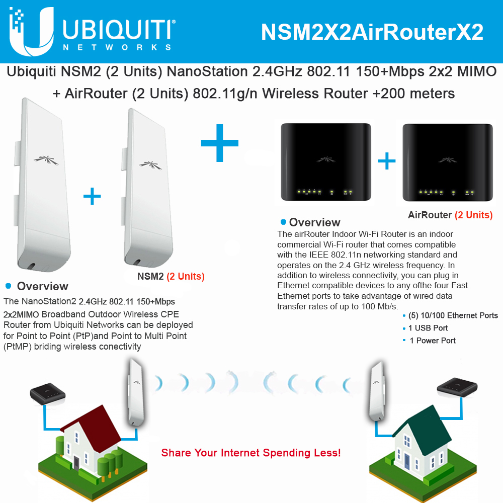 Ubiquiti NSM2 2-UNITS NanoStation M2 + 2 X AirRouter 802.11g/n Wireless on internet wireless, broadband wireless, flash wireless, wifi wireless, usb wireless, cellular wireless, linksys wireless, antenna wireless,