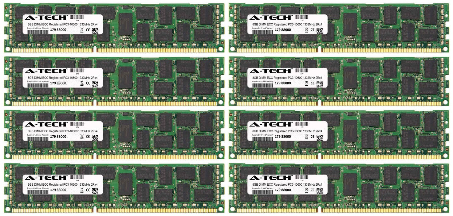 64GB Kit 8x 8GB Modules PC3-10600 1333MHz 2Rx4 ECC Registered DDR3 DIMM Server 240-pin Memory Ram