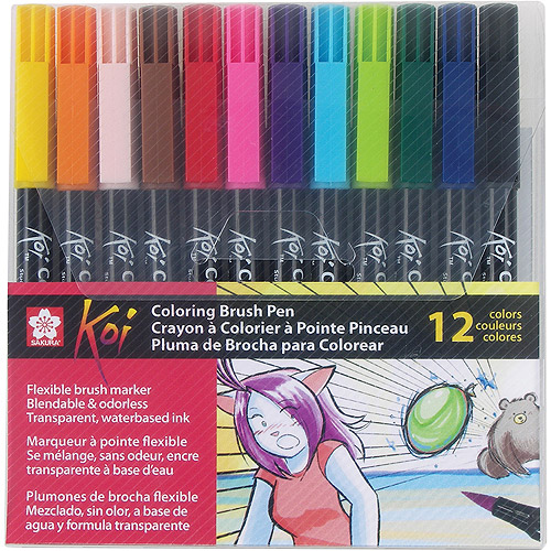 Sakura Koi Brush Pen Set: Assorted Colors, 12 pack
