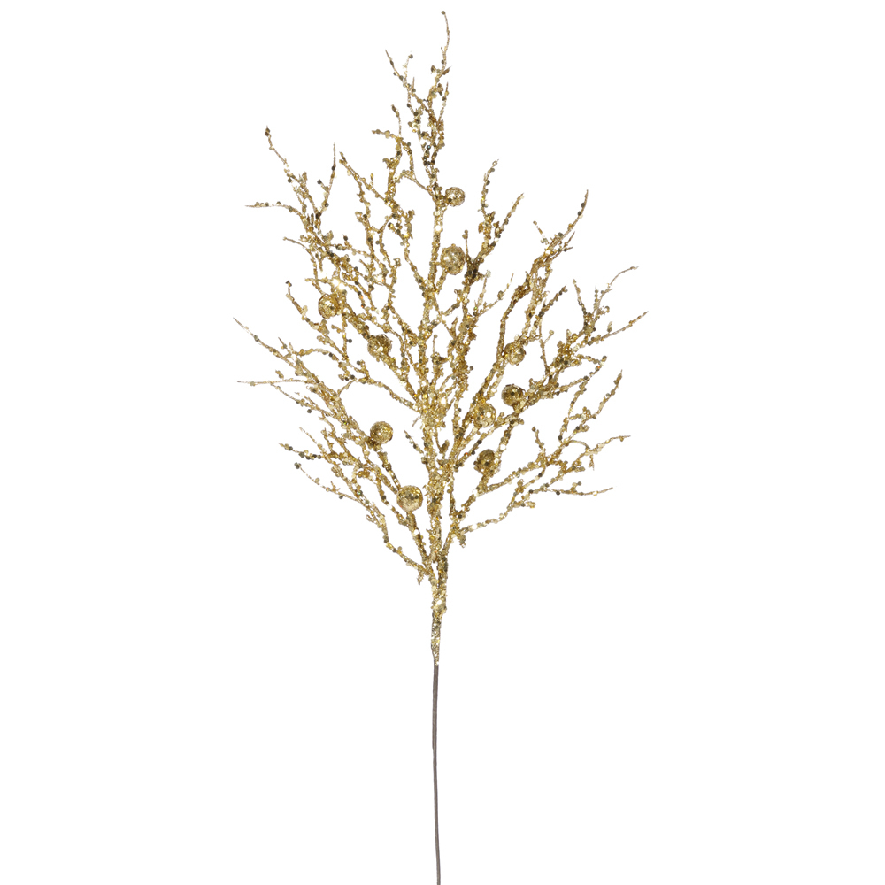 "Vickerman 29"" Gold Sparkle Berry Twig Spray Sparkle Spray"