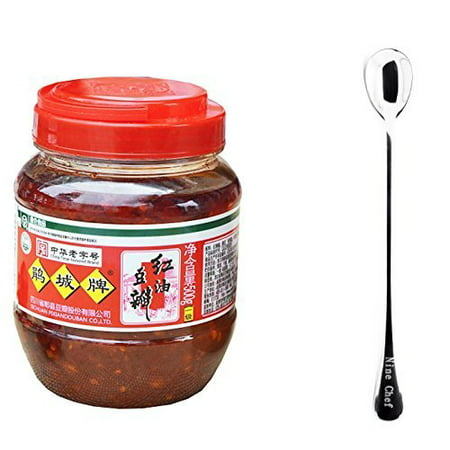 Juan Cheng Sichuan Pixian Boad Bean Paste with Red Chili Oil (small) 17.6oz/500g (1 Pack) + One NineChef