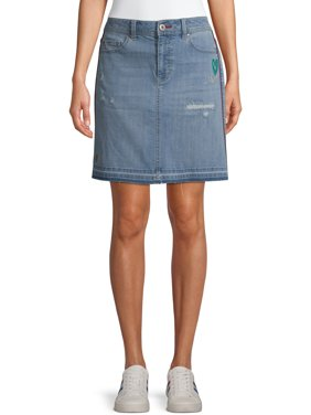 EV1 from Ellen DeGeneres Womens Alex Embroidered Denim Skirt