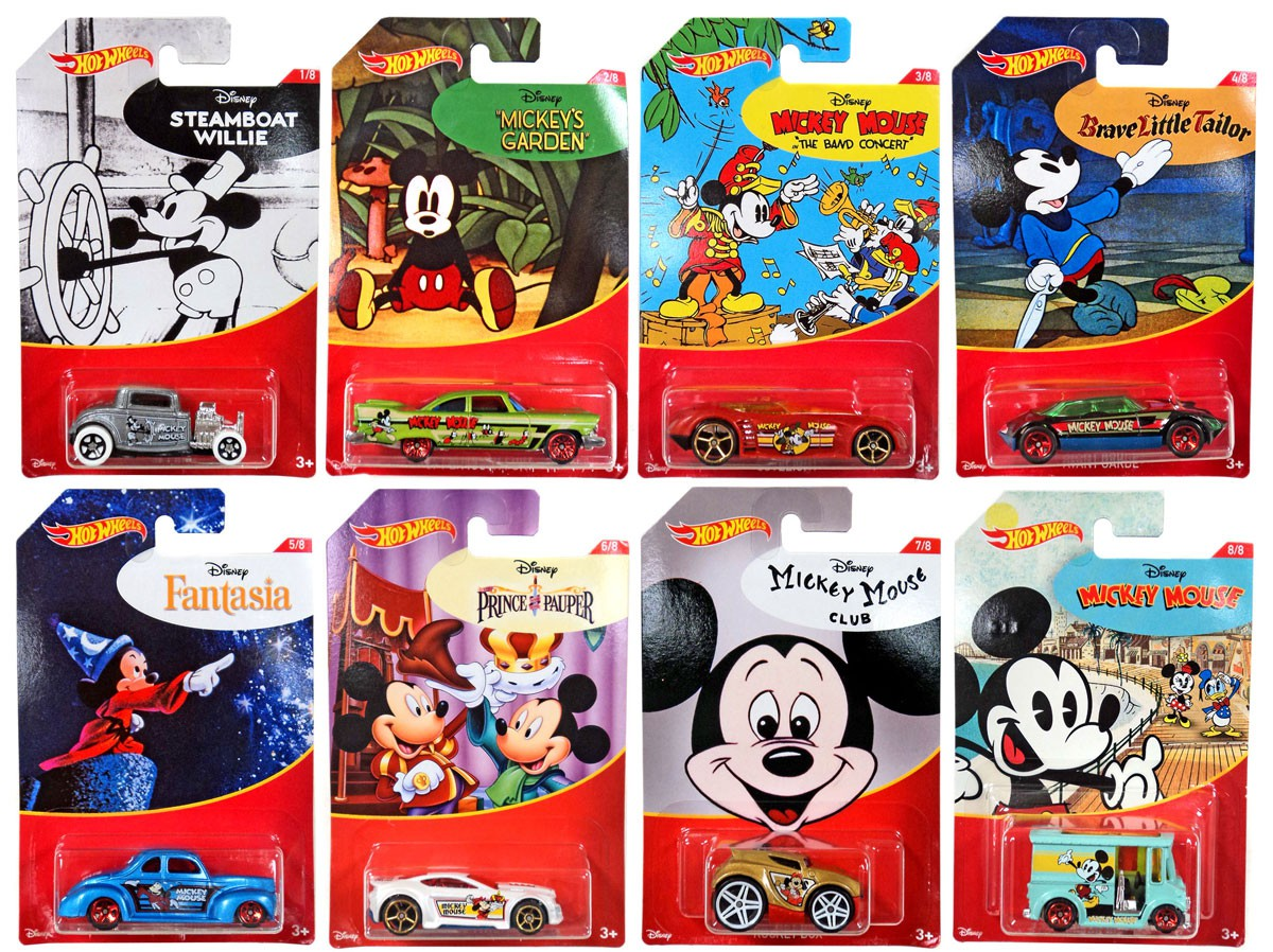 Disney Hot Wheels Mickey Mouse Die Cast Car Set by