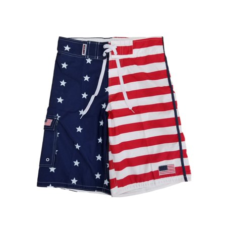 6f84bb1b02 Exist - Mens US Flag Patriotic Stars & Stripes Cargo Board Shorts Swim  Trunks - Walmart.com
