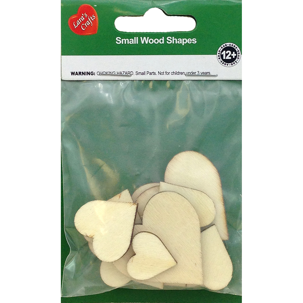Assorted Wood Shapes-Hearts 12/Pkg