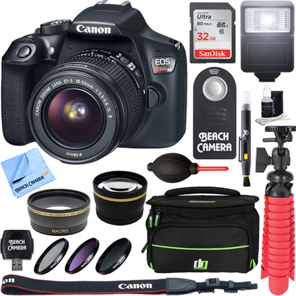 Canon EOS Rebel T6 Digital SLR Camera Wifi + EF-S 18-55mm IS STM Lens Kit + Accessory Bundle 32GB SDXC Memory + DSLR Photo Bag + Wide Angle Lens + 2x Telephoto Lens + Flash + Remote + Tripod & More