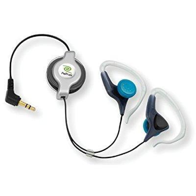 retrak etaudioew retractable stereo earbuds, silver and black