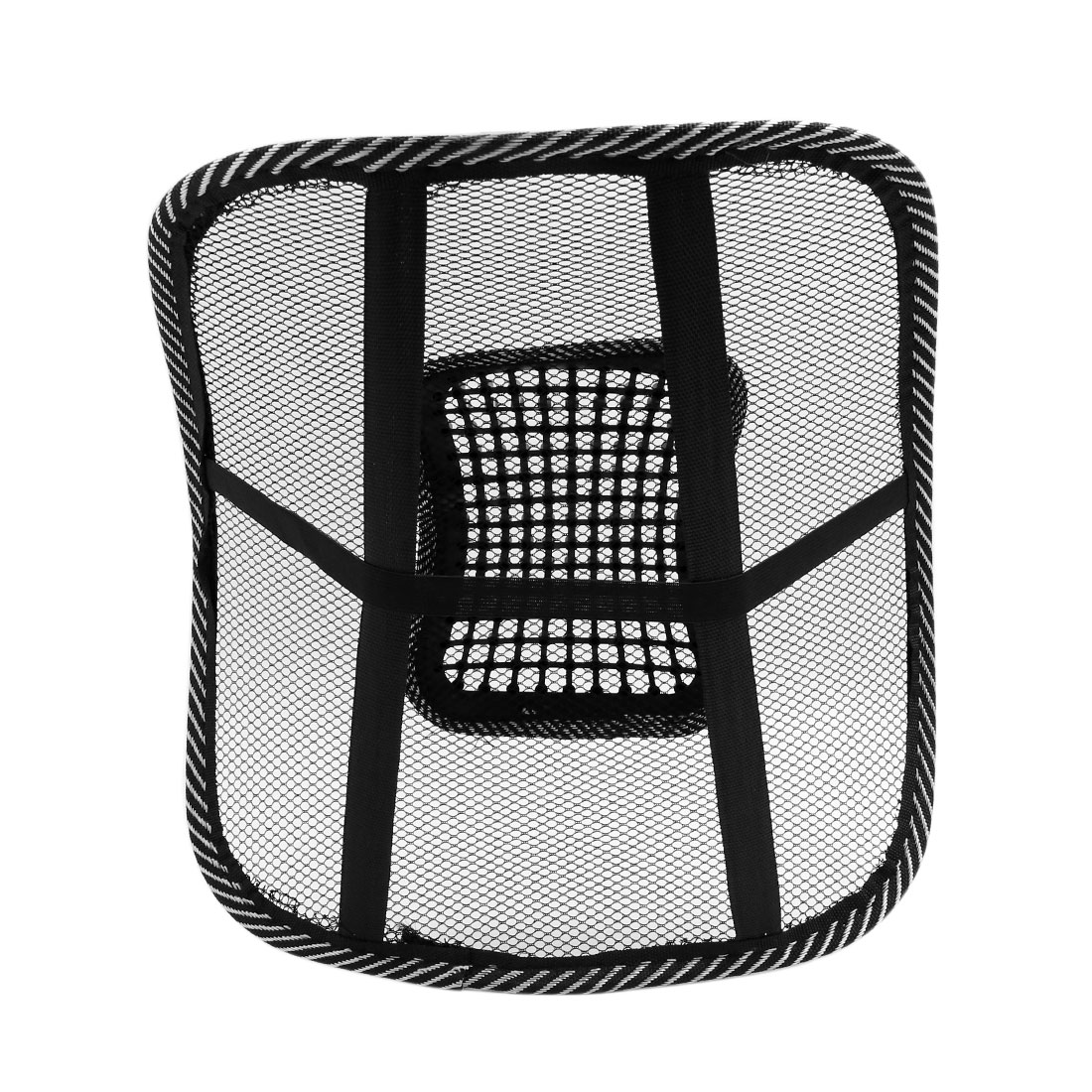 Black White Waist Lumbar Massage Mesh Cushion Back Support Pad for Car Office - image 1 of 5