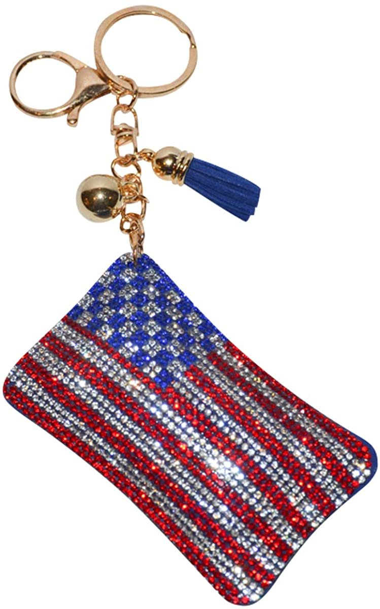 US various designs /& keychain options flag decorative fobs American