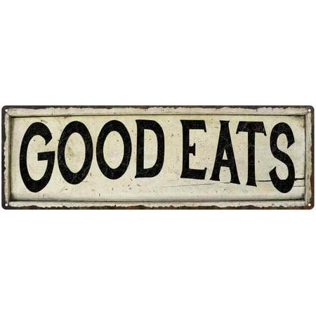 GOOD EATS Farmhouse Style Wood Look Sign Gift 6x18 Metal Decor 206180028182 ()