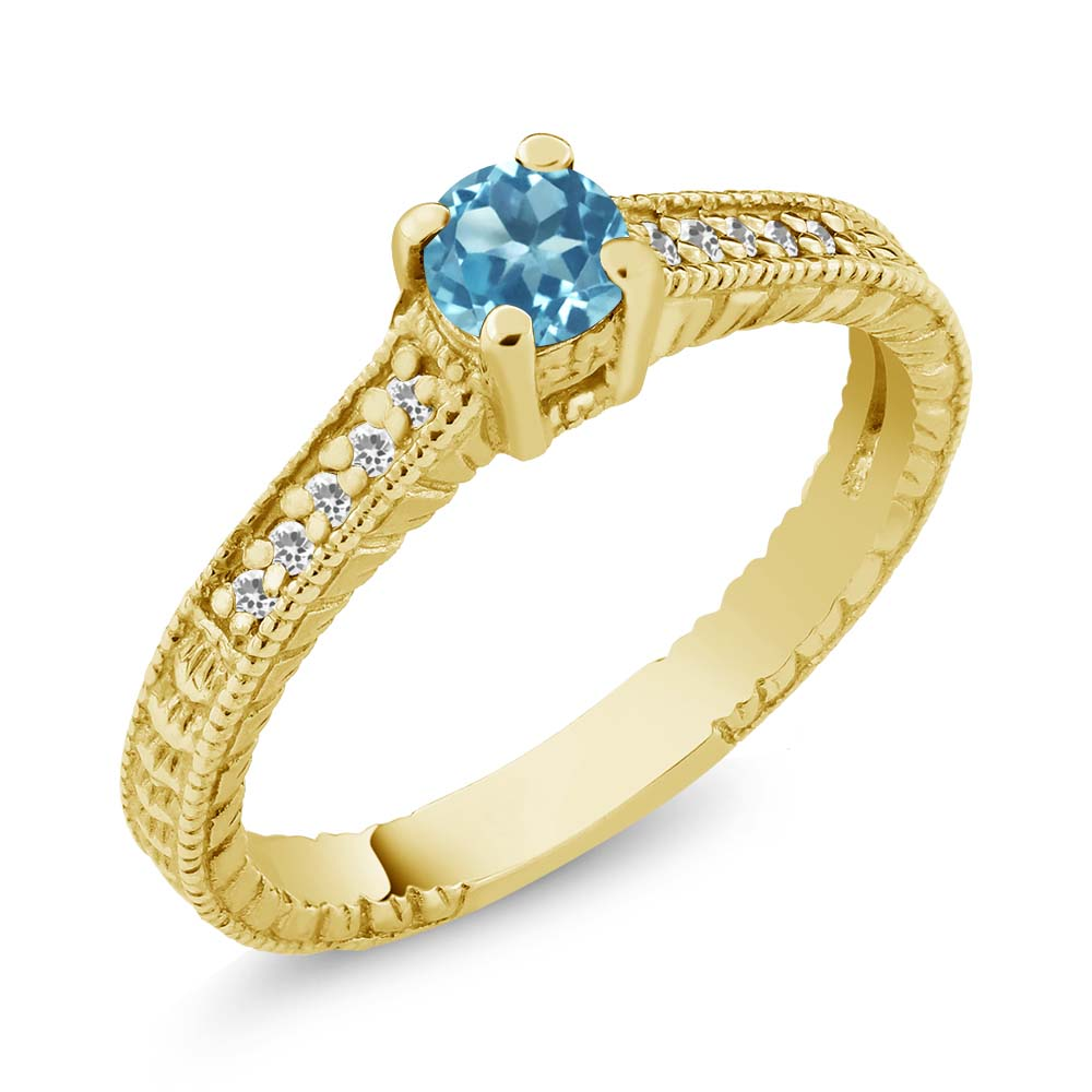 0.43 Ct Round Swiss Blue Topaz White Sapphire 18K Yellow Gold Plated Silver Ring