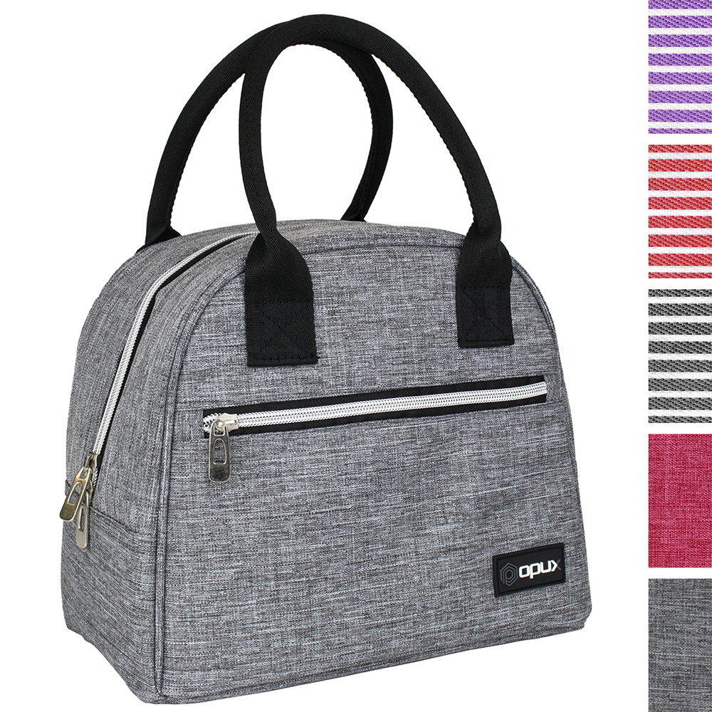 OPUX Premium Lunch Bag for Women | Thermal Insulated Lunch Tote for Girls Ladies | Medium Reusable Soft Lunch Box Purse for School, Work, Office with Pocket | Fits 12 Cans