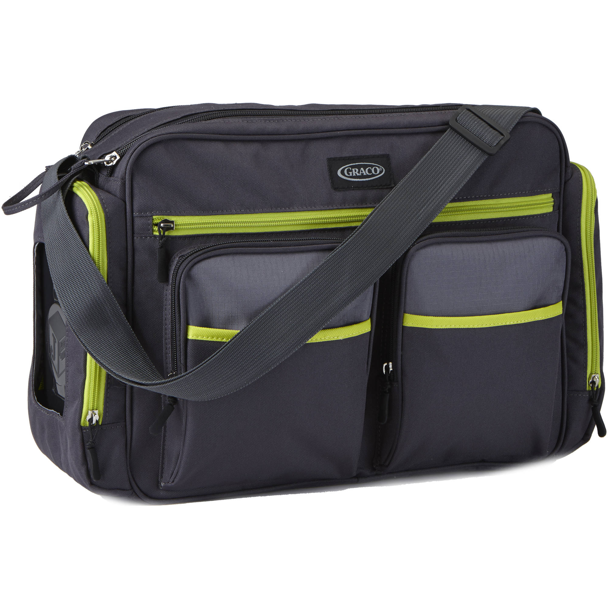 Graco Places and Spaces Duffle Diaper Bag, Grey/Green