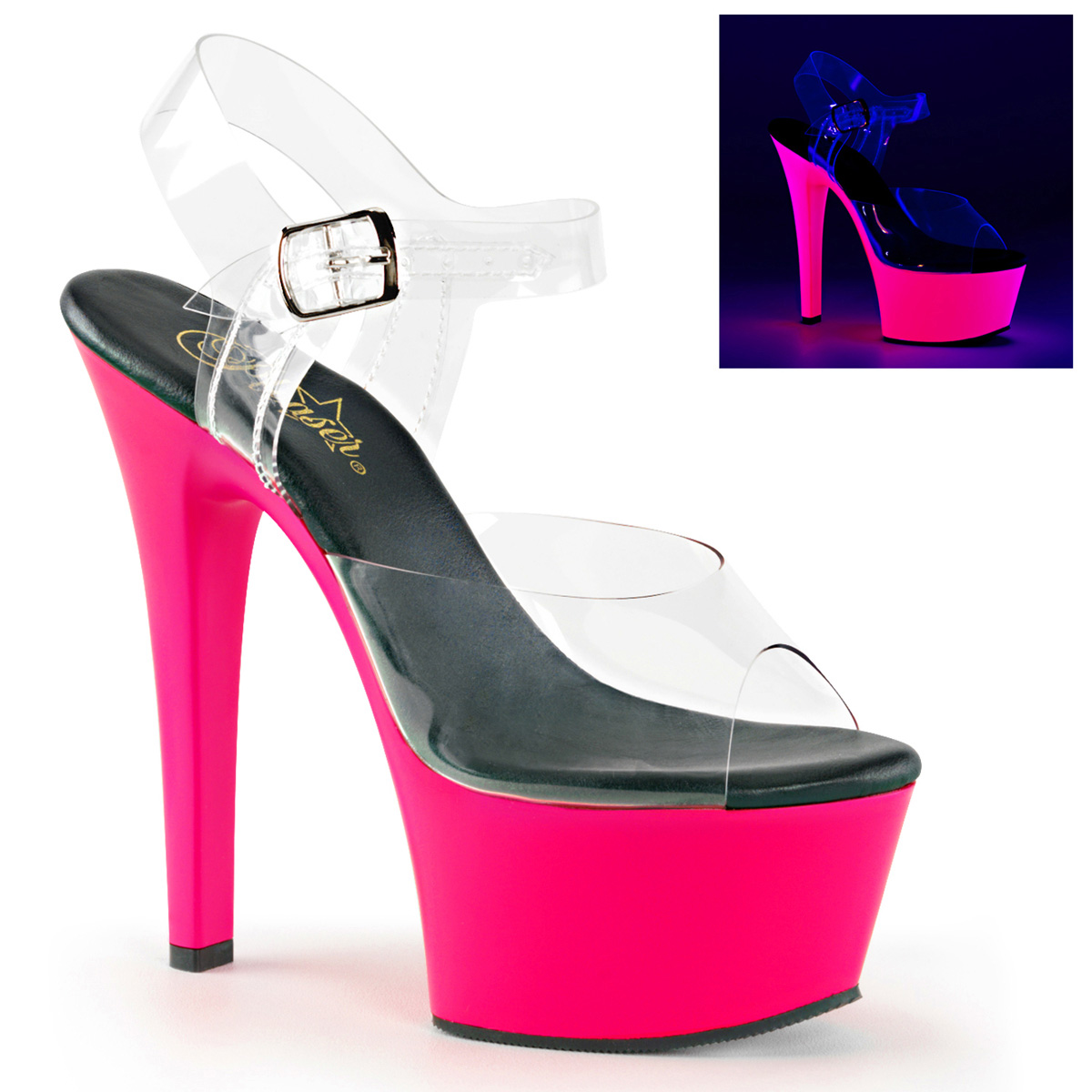 PLEASER ASPIRE-608UV Women's High Platform Neon UV Reactive Ankle Strap Sandals
