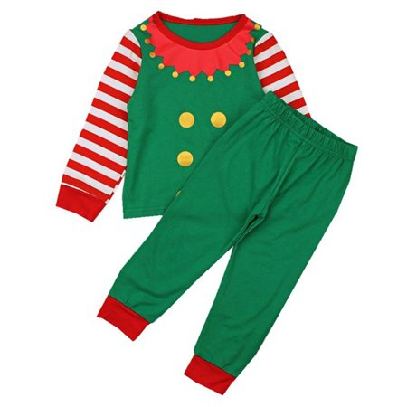 Family Kids Matched Christmas Pajama Set Long Stripe Sleeve Elf Top With Legging Pant 5-6 Year
