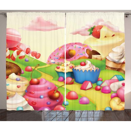 Cotton Modern Curtain - Modern Curtains 2 Panels Set, Yummy Donuts Sweet Land Cupcakes Ice Cream Cotton Candy Clouds Kids Nursery Design, Window Drapes for Living Room Bedroom, 108W X 84L Inches, Multicolor, by Ambesonne