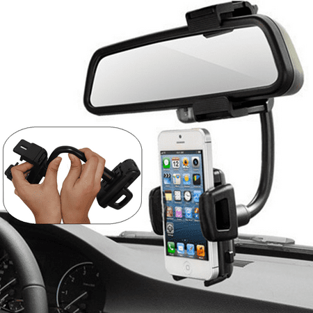 Universal 360° Car Mount Holder Stand Rear-view Mirror Clip for iPhone for Samsung Cell Phone & GPS Cellular Antenna Mirror Mount
