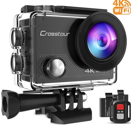 Crosstour Action Camera 4K WiFi Underwater Cam 16MP Sports Camera with Remote Control 170°Wide-Angle 2 Inch LCD Plus 2 and Mounting Accessories Kit - Elf Cap