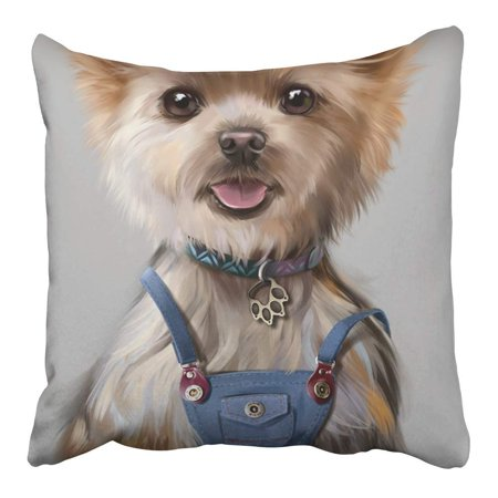ARHOME Cute Puppy in Jumpsuit Painting Pet Dog Animal Eared Funny Grey Overalls Pillowcase Cushion Cover 16x16 inch