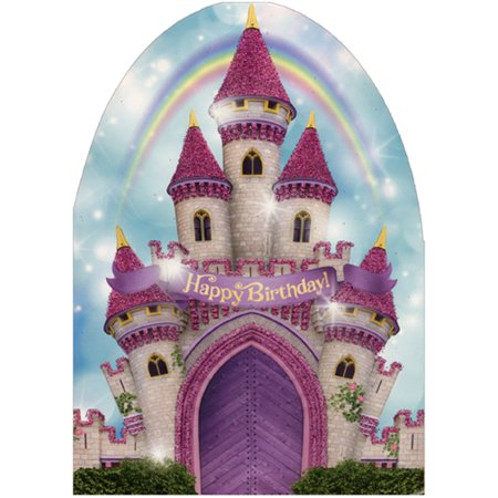 Paper House Productions Pink Castle and Rainbow Die Cut Glitter Birthday Card For Girls