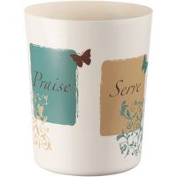 "Mainstays Butterfly Blessings Bathroom Wastebasket, Natural, 9.34"" x 7.57"" x 7.57"""