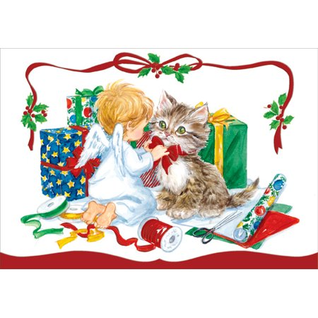Designer Greetings Small Angel and Kitten Box of 18 Christmas Cards ()