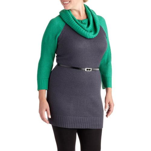 Women's Plus-Size Cowlneck Belted Sweater Dress