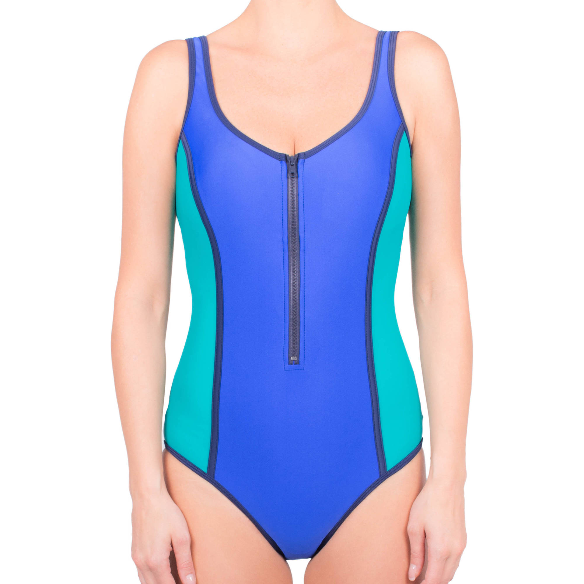Donatella Sport Women's Neoprene ColorblockV-Neck One-Piece Swimsuit With Chunky Zipper
