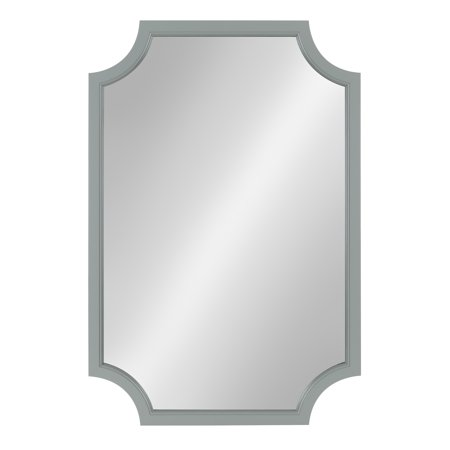 Scalloped Corner - Kate and Laurel Hogan Wood Framed Mirror with Scallop Corners, 24 x 36 Inches, Gray