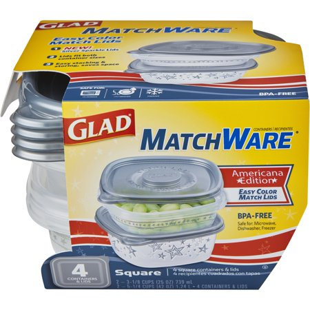(2 pack) Glad Food Storage Containers - Glad MatchWare Square Containers - Two 25 oz - Two 42