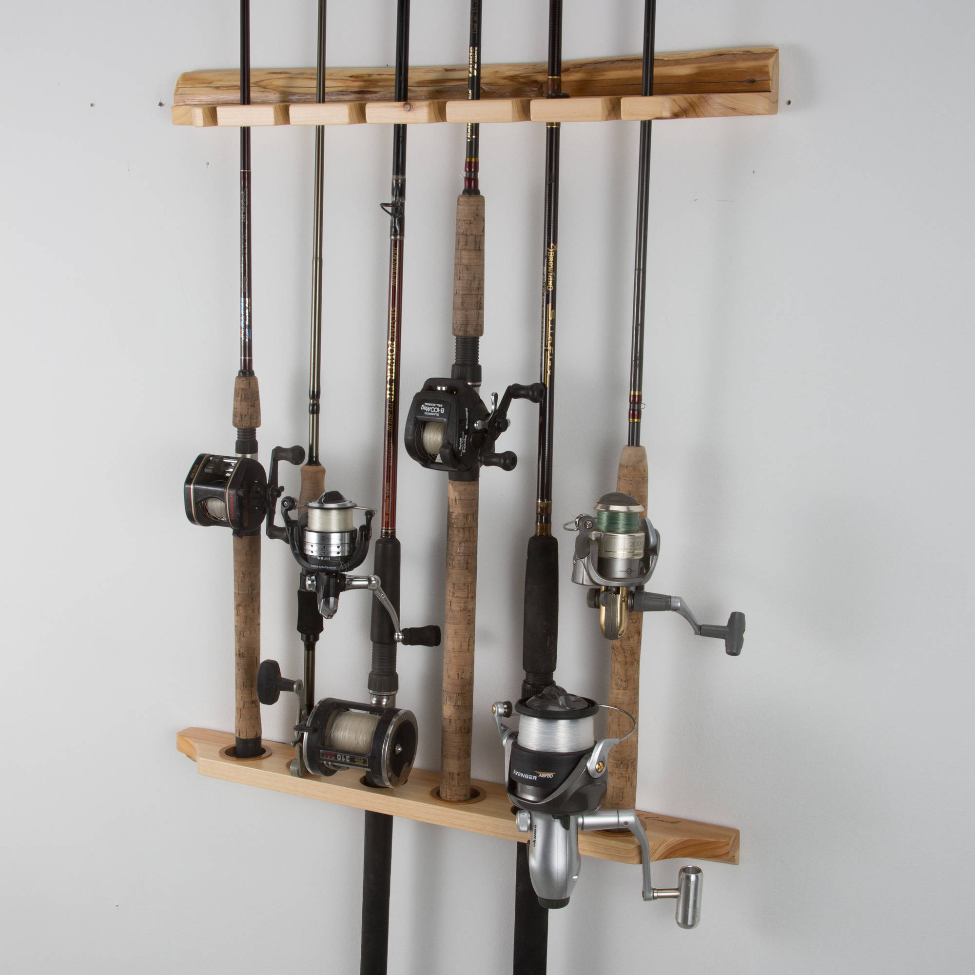 Rush Creek Creations 6-Fishing Rod Ceiling / Wall - Vertical / Horizontal Storage Rack